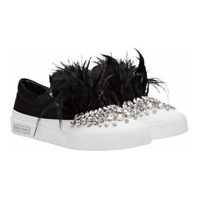 Miu Miu  Feather-embellished Slip-on Sneakers
