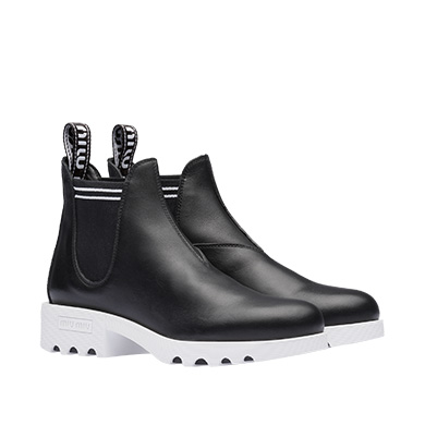 Leather Chunky Booties, Black/ White