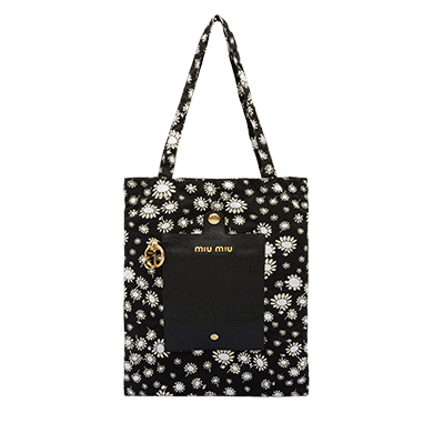 Faille Bag With Keychain in Black Bouquet Motif
