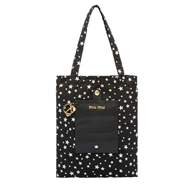 Faille Bag With Keychain in Black Star Motif