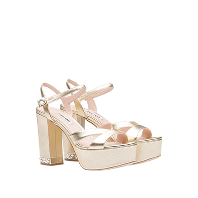 Metallic Leather Ankle-Strap Platform Sandals - Gold Size 10