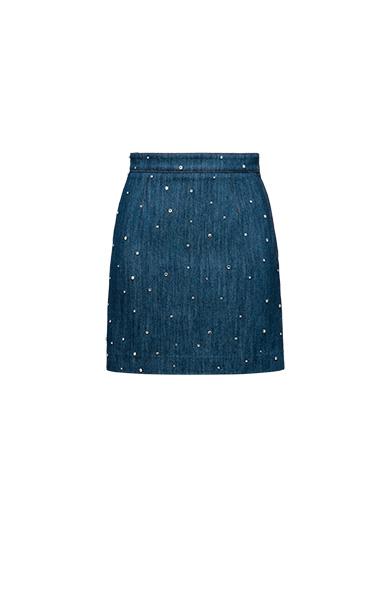 Crystal-Embellished Denim Mini Skirt in Blue