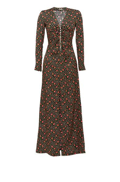 Jaquard Flowerbud-Print Crystal-Embellished Dress, Black