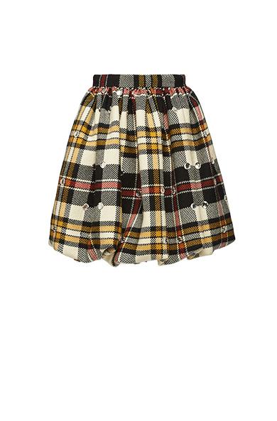 Crystal-embellished tartan wool mini skirt
