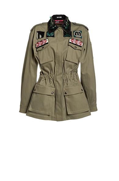 Bead And Crystal-Embellished Cotton-Blend Jacket, Sage Green