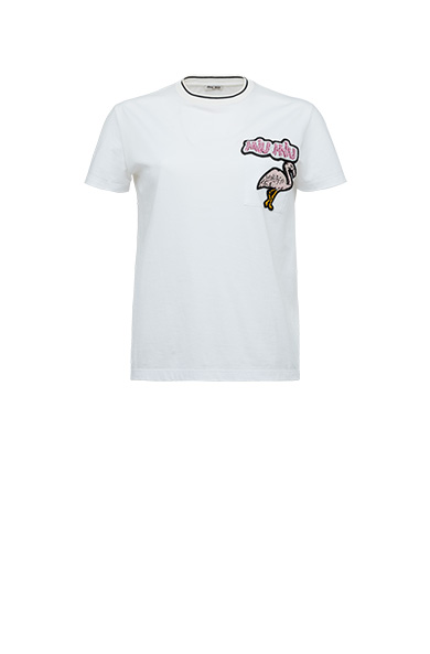 Flamingo Patch Cotton Jersey T-Shirt in White