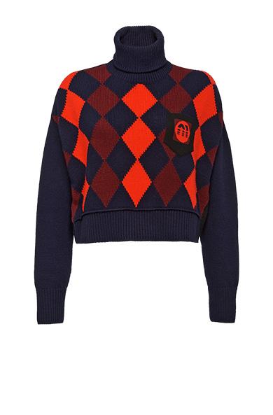 MIU MIU Intarsia-Knit Virgin-Wool Roll-Neck Sweater in Blue