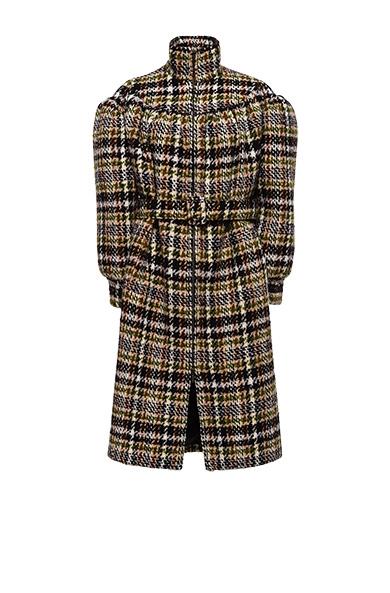 Checked Wool-Blend Bouclé Coat, Camel Brown