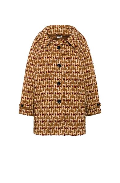 Tweed Cocoon Coat in Brown