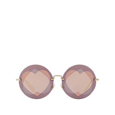 MIU MIU Noir With Heart-Shaped Design, Mirrored Gold Rose Lenses