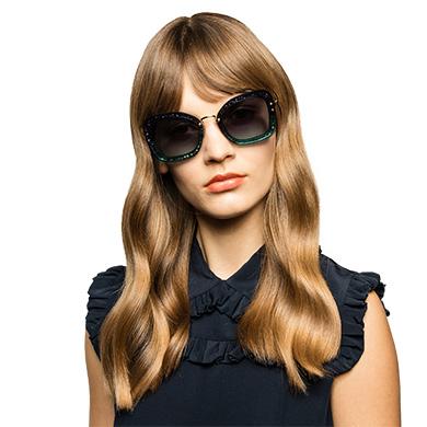 9b000168bdc8 ... Miu Miu Reveal glitter eyewear MiuMiu BLUE TO TURQUOISE GRADIENT LENSES