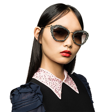 e4b24f32282 ... Miu Miu Noir Eyewear with Glitter MiuMiu GRADIENT ANTHRACITE GRAY LENSES