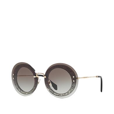 MIU MIU Reveal Eyewear With Glitter, Denim To Light Blue Gradient Lenses