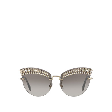 9180b00708 Miu Miu Scenique Eyewear With Crystals In Anthracite Gray To Lake Blue Gradient  Lenses With Silver