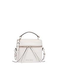 6290378bffae Madras leather shoulder bag WHITE MiuMiu