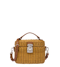 fd4165dadb2b Wicker and leather shoulder bag HONEY/COGNAC MiuMiu