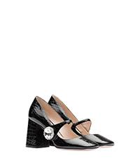 7039c8c2856 Croco-print leather Mary Jane pumps BLACK MiuMiu