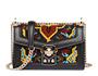 Embroidered hemp fabric shoulder bag Black MiuMiu