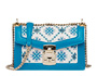 Embroidered hemp fabric shoulder bag White/Bright Blue MiuMiu