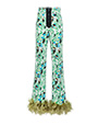 Printed stretch denim trousers BLACK/GREEN MiuMiu