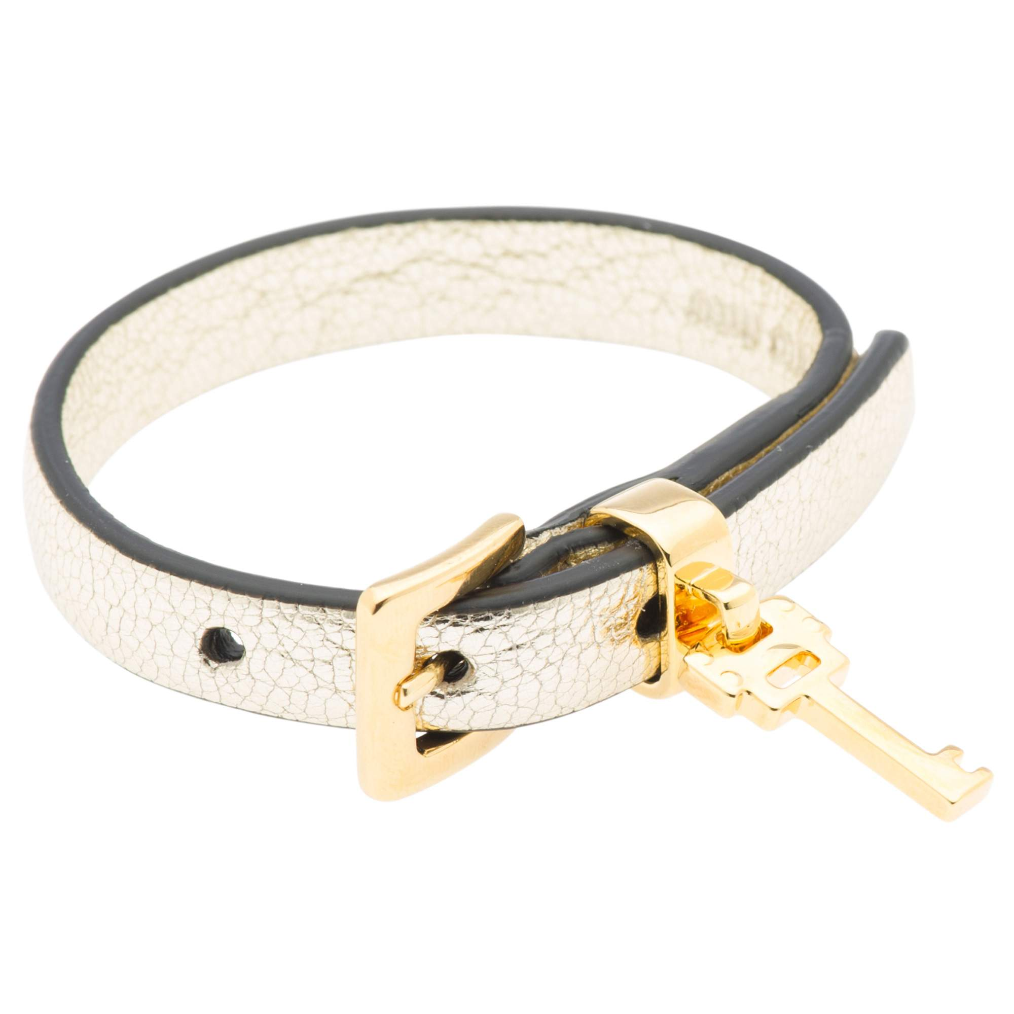 buckle lyst jewelry miu gold in bracelet leather metallic studded